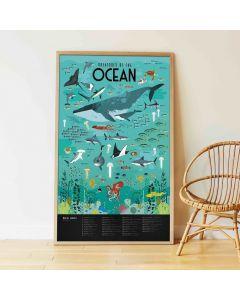 Poppik Dieren uit de Oceanen Sticker Poster 100x68cm