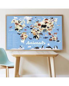 Poppik Dieren van de Wereld Sticker Poster 100x68cm