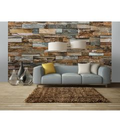 Kleurrijke Stenen Muur 8-delig Fotobehang 366x254cm