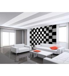 Zwarte En Witte Vierkanten 8-delig Vlies Fotobehang 366x254cm