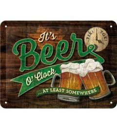 Beer O' Clock Metalen Wandplaat 15x20cm