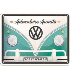 VW Bulli Adventure Awaits Metalen Wandplaat 15x20cm