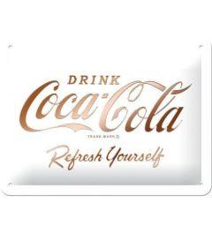Coca-Cola Logo White Refresh Yourself Metalen Wandplaat 15x20cm