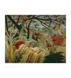 Rousseau Tropical Storm With Tiger Kunstdruk 60x80cm