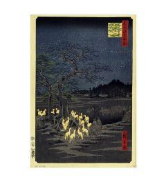 Hiroshige Foxes Meeting at Oji Kunstdruk 60x80cm