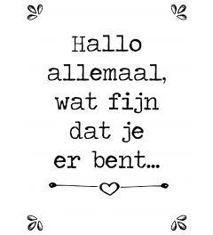 Hallo Allemaal