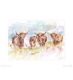 Kudde Hooglanders Art Print Jennifer Rose 30x40cm