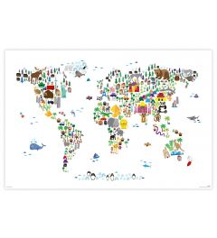 Dieren wereldkaart Poster 61x91.5cm