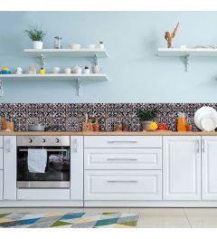 Keukenwand Sticker Portugese Tegels zwart 195x23.5cm