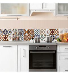 Keukenwand Sticker Portugese Tegels rood 195x23.5cm