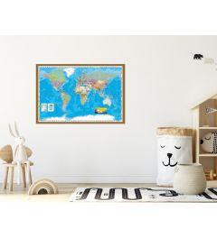 Wereldkaart Ingelijst Hout Eiken