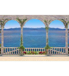 Terras Met Colonnade 7-delig Fotobehang 350x260cm