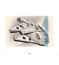 Star Wars Millennium Falcon Pencil Art Print 60x80cm