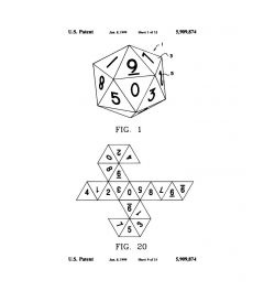 Twenty-Sided Die Pattent Fig 1 And 20 Art Print