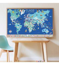 Poppik Vlaggen van de Wereld Sticker Poster 100x68cm