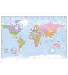 Politieke Wereldkaart - Miller Projection