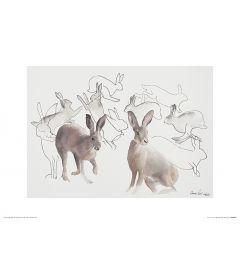 Springende Hazen Art Print Aimee Del Valle 30x40cm