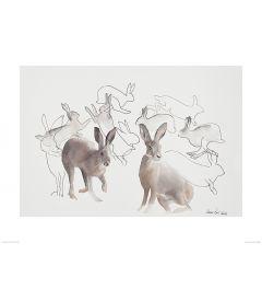 Springende Hazen Art Print Aimee Del Valle 60x80cm