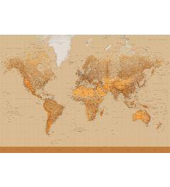 Kaart van de Wereld Sepia 8-delig Fotobehang 366x254cm