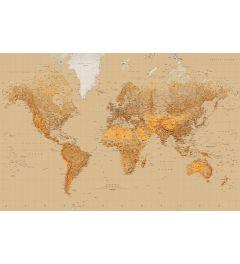 Wereldkaart Sepia 1-delig Fotobehang 175x115cm