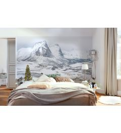 Betoverende Witte Bergen 8-delig Fotobehang 400x280cm