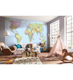 Wereldkaart 4-delig Vlies Fotobehang 368x248cm